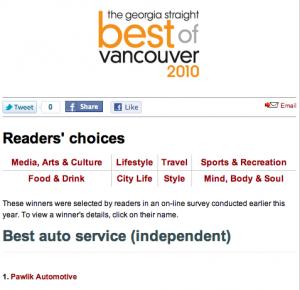 Best of Vancouver Winner - Pawlik Automotive