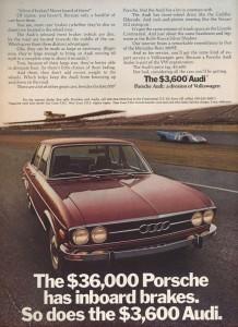 1971 Audi 100 inboard brakes ad